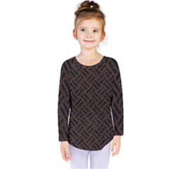 Woven2 Black Marble & Dark Brown Wood Kids  Long Sleeve Tee