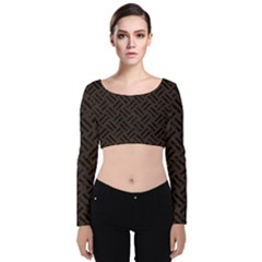 Woven2 Black Marble & Dark Brown Wood Velvet Long Sleeve Crop Top