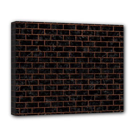 Brick1 Black Marble & Dull Brown Leather (r) Deluxe Canvas 20  X 16   by trendistuff