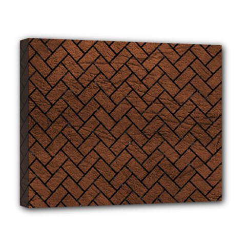 Brick2 Black Marble & Dull Brown Leather Deluxe Canvas 20  X 16   by trendistuff