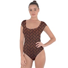 Brick2 Black Marble & Dull Brown Leather Short Sleeve Leotard