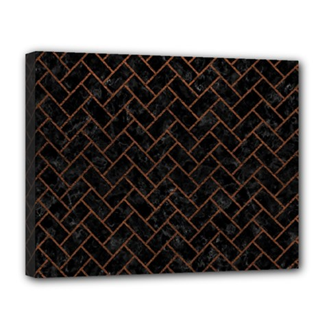 Brick2 Black Marble & Dull Brown Leather (r) Canvas 14  X 11  by trendistuff