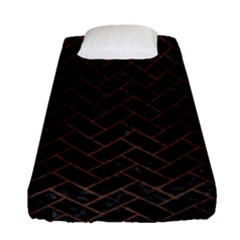Brick2 Black Marble & Dull Brown Leather (r) Fitted Sheet (single Size) by trendistuff