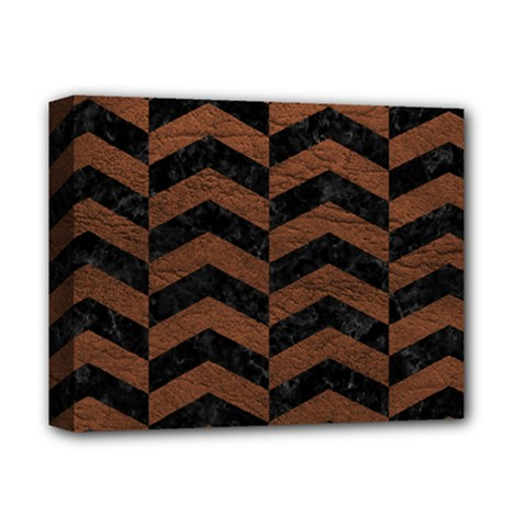Chevron2 Black Marble & Dull Brown Leather Deluxe Canvas 14  X 11  by trendistuff
