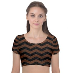 Chevron3 Black Marble & Dull Brown Leather Velvet Short Sleeve Crop Top