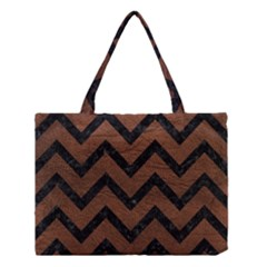 Chevron9 Black Marble & Dull Brown Leather Medium Tote Bag