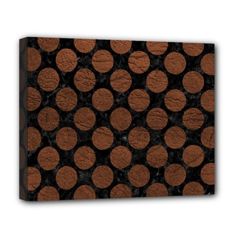 Circles2 Black Marble & Dull Brown Leather (r) Deluxe Canvas 20  X 16