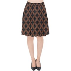 Circles3 Black Marble & Dull Brown Leather (r) Velvet High Waist Skirt by trendistuff