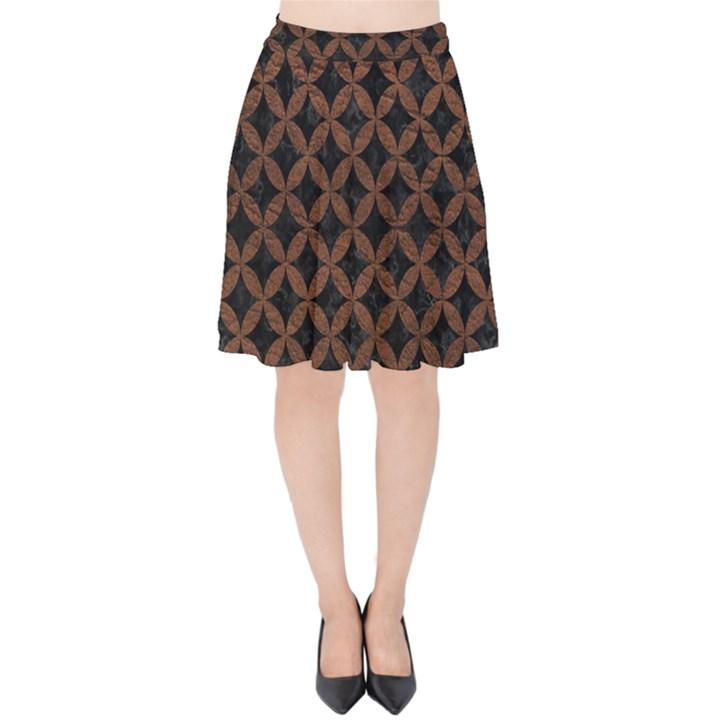 CIRCLES3 BLACK MARBLE & DULL BROWN LEATHER (R) Velvet High Waist Skirt