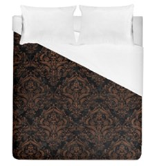 Damask1 Black Marble & Dull Brown Leather (r) Duvet Cover (queen Size) by trendistuff
