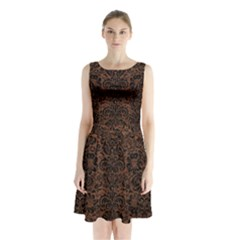 Damask2 Black Marble & Dull Brown Leather Sleeveless Waist Tie Chiffon Dress