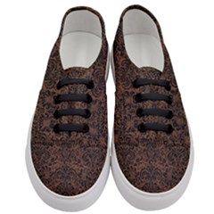 Damask2 Black Marble & Dull Brown Leather Women s Classic Low Top Sneakers