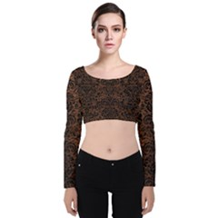 Damask2 Black Marble & Dull Brown Leather Velvet Long Sleeve Crop Top