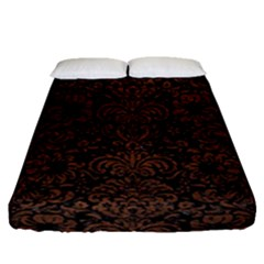 Damask2 Black Marble & Dull Brown Leather (r) Fitted Sheet (queen Size) by trendistuff