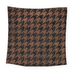Houndstooth1 Black Marble & Dull Brown Leather Square Tapestry (large) by trendistuff