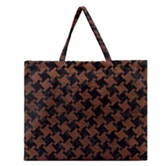 Houndstooth2 Black Marble & Dull Brown Leather Zipper Large Tote Bag by trendistuff