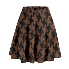Houndstooth2 Black Marble & Dull Brown Leather High Waist Skirt by trendistuff