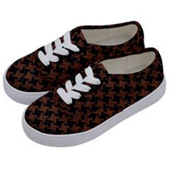 Houndstooth2 Black Marble & Dull Brown Leather Kids  Classic Low Top Sneakers by trendistuff