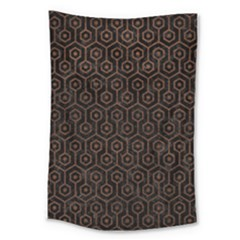 Hexagon1 Black Marble & Dull Brown Leather (r) Large Tapestry by trendistuff