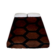 Hexagon2 Black Marble & Dull Brown Leather Fitted Sheet (full/ Double Size) by trendistuff