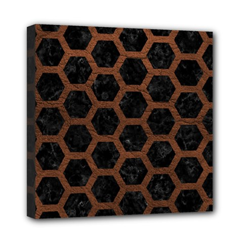 Hexagon2 Black Marble & Dull Brown Leather (r) Mini Canvas 8  X 8  by trendistuff