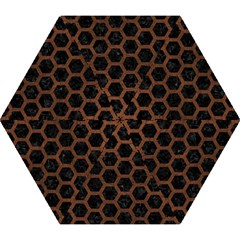 Hexagon2 Black Marble & Dull Brown Leather (r) Mini Folding Umbrellas by trendistuff