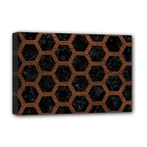 Hexagon2 Black Marble & Dull Brown Leather (r) Deluxe Canvas 18  X 12   by trendistuff