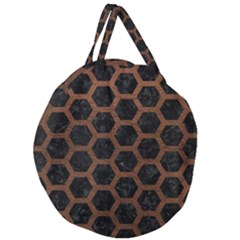 Hexagon2 Black Marble & Dull Brown Leather (r) Giant Round Zipper Tote by trendistuff