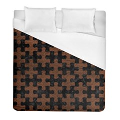Puzzle1 Black Marble & Dull Brown Leather Duvet Cover (full/ Double Size) by trendistuff