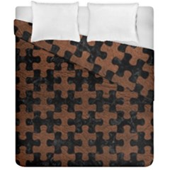 Puzzle1 Black Marble & Dull Brown Leather Duvet Cover Double Side (california King Size) by trendistuff