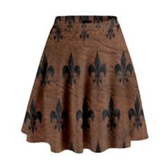 Royal1 Black Marble & Dull Brown Leather (r) High Waist Skirt by trendistuff