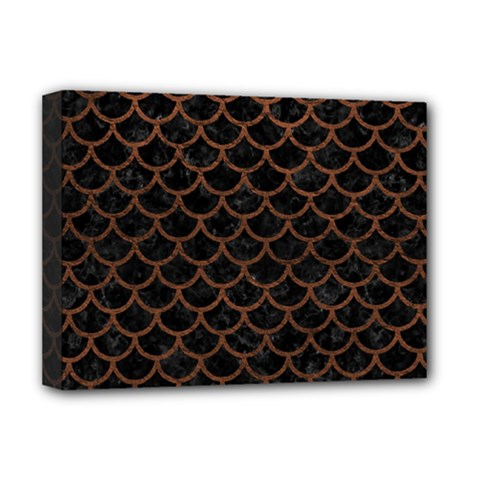 Scales1 Black Marble & Dull Brown Leather (r) Deluxe Canvas 16  X 12   by trendistuff