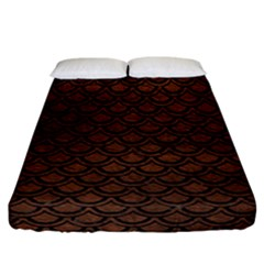 Scales2 Black Marble & Dull Brown Leather Fitted Sheet (california King Size) by trendistuff