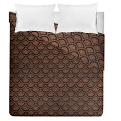 Scales2 Black Marble & Dull Brown Leather Duvet Cover Double Side (queen Size) by trendistuff
