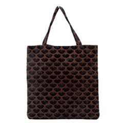 Scales3 Black Marble & Dull Brown Leather (r) Grocery Tote Bag by trendistuff