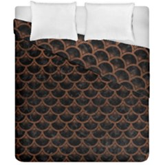 Scales3 Black Marble & Dull Brown Leather (r) Duvet Cover Double Side (california King Size) by trendistuff