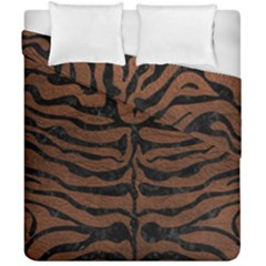 Skin2 Black Marble & Dull Brown Leather Duvet Cover Double Side (california King Size) by trendistuff