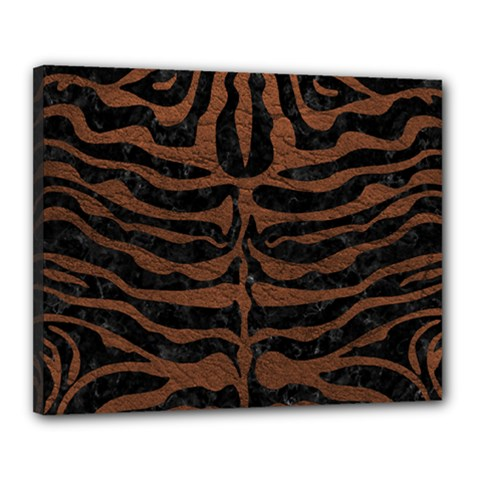 Skin2 Black Marble & Dull Brown Leather (r) Canvas 20  X 16  by trendistuff