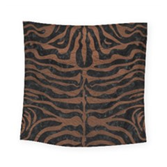 Skin2 Black Marble & Dull Brown Leather (r) Square Tapestry (small)