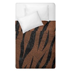 Skin3 Black Marble & Dull Brown Leather Duvet Cover Double Side (single Size) by trendistuff