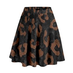Skin5 Black Marble & Dull Brown Leather High Waist Skirt by trendistuff