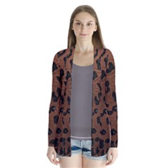 Skin5 Black Marble & Dull Brown Leather (r) Drape Collar Cardigan by trendistuff