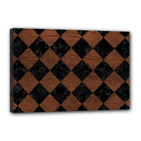 Square2 Black Marble & Dull Brown Leather Canvas 18  X 12  by trendistuff