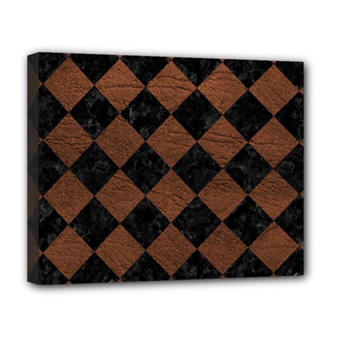 Square2 Black Marble & Dull Brown Leather Deluxe Canvas 20  X 16   by trendistuff