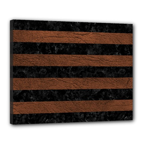 Stripes2 Black Marble & Dull Brown Leather Canvas 20  X 16  by trendistuff