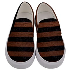 Stripes2 Black Marble & Dull Brown Leather Men s Canvas Slip Ons