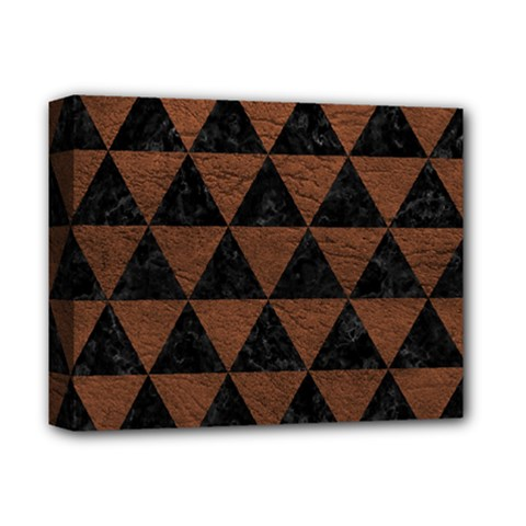 Triangle3 Black Marble & Dull Brown Leather Deluxe Canvas 14  X 11  by trendistuff