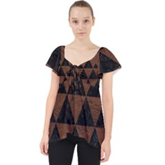 Triangle3 Black Marble & Dull Brown Leather Lace Front Dolly Top