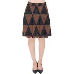Triangle3 Black Marble & Dull Brown Leather Velvet High Waist Skirt by trendistuff