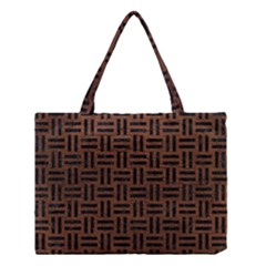 Woven1 Black Marble & Dull Brown Leather Medium Tote Bag by trendistuff